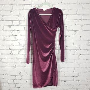 Wilfred Free Cardamom Velvet Ruched Midi Dress